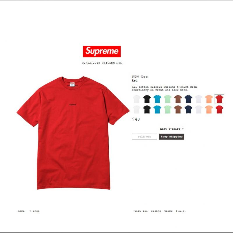 Red Supreme FTW Tee Size M SS18 • T-Shirts • Strictlypreme