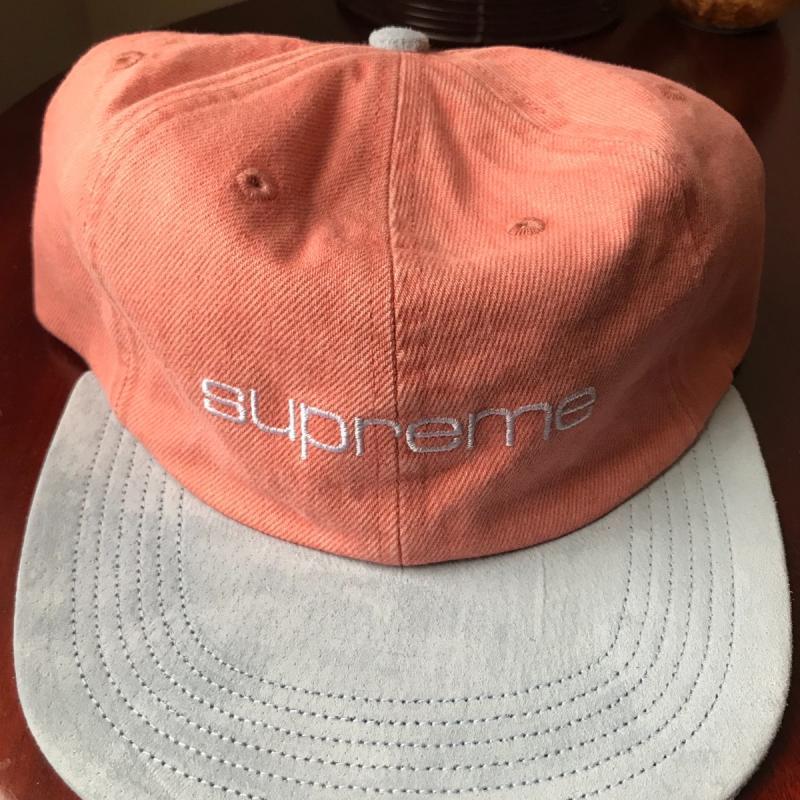 88778159853 Denim Suede Compact 6-Panel Pink Ss18 • Hats • Strictlypreme