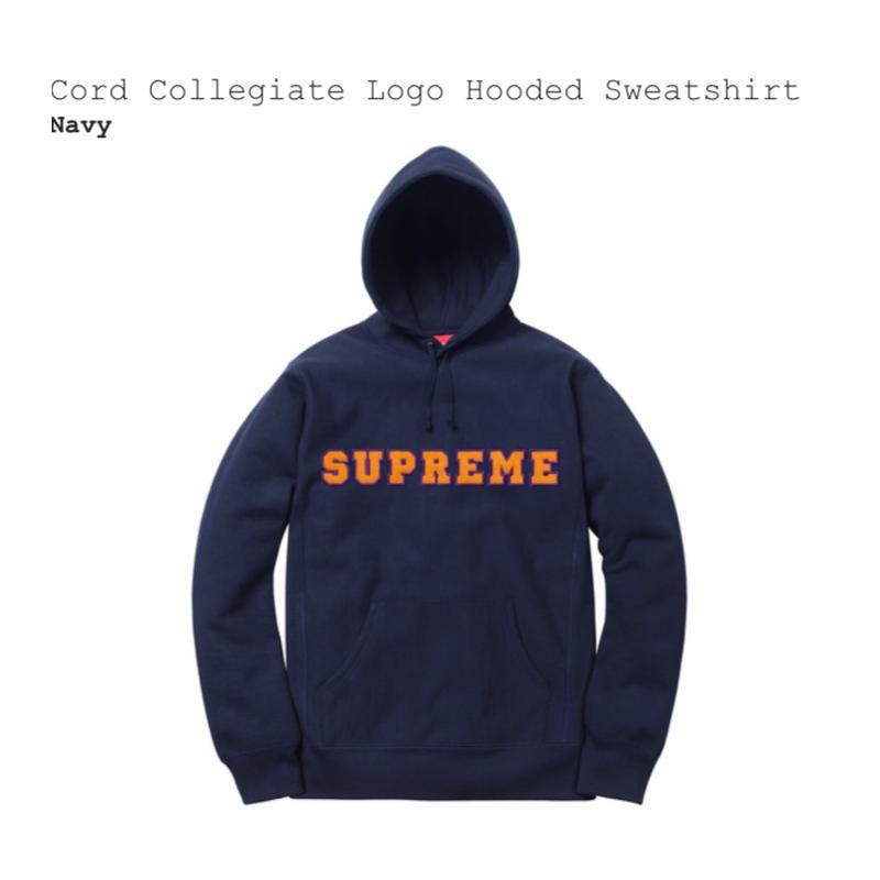 569035b4ad0d Supreme Cord Collegiate Logo Hooded Sweatshirt - Navy - Size L - DS - 100%  Authentic - IN HAND • Sweatshirts • Strictlypreme