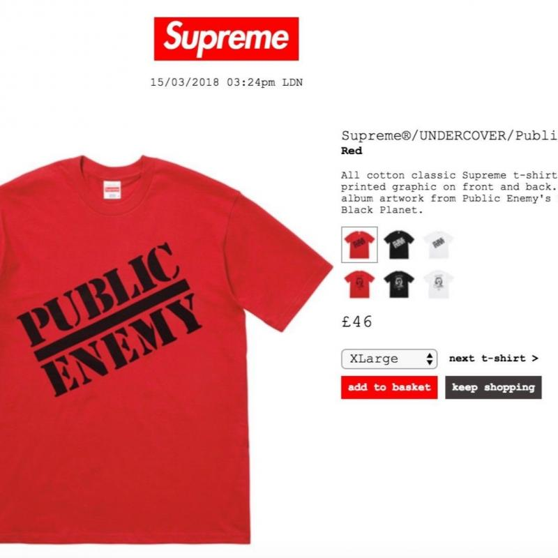 65b57c73 SUPREME SS18 PUBLIC ENEMY UNDERCOVER TEE MEDIUM RED New/tags Ready To Ship  • T-Shirts • Strictlypreme