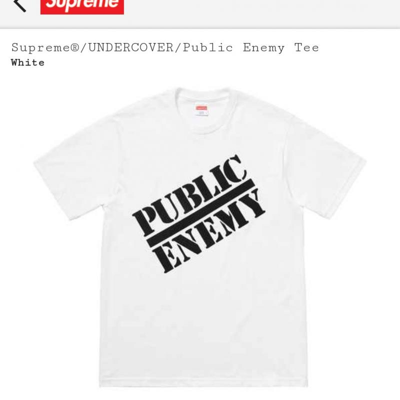 White Tee Size Large SUPREME X UNDERCOVER X PUBLIC ENEMY - COLLAB