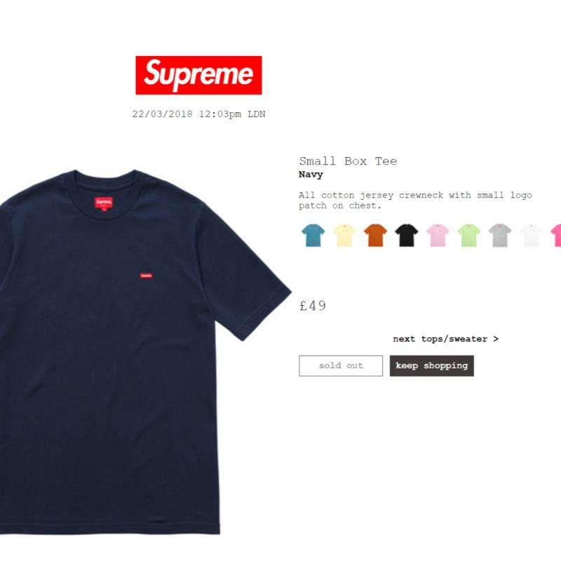 brand NEW Supreme Small Box Logo Tee SS19 White Medium cotton jersey red patch