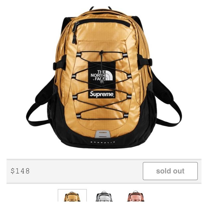 3072f6193 Gold Supreme®/The North Face® Metallic Borealis Backpack • Bags ...