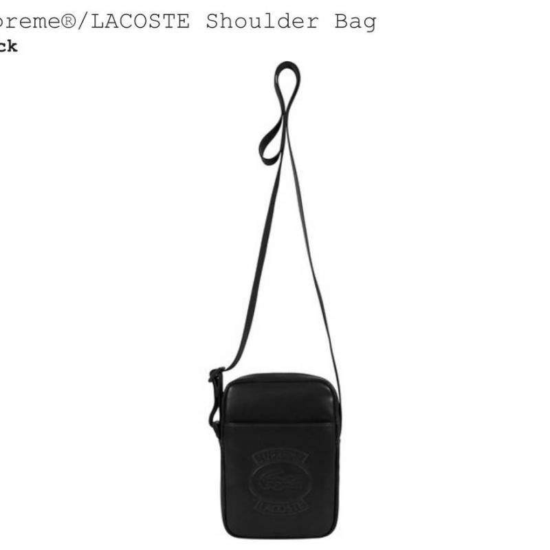 Supreme x Lacoste Black Shoulder Bag • Accessories • Strictlypreme d82960a8abb1d