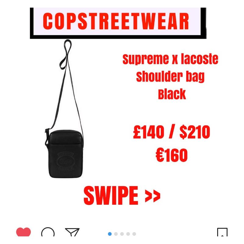 d4c009f2ba2 Supreme x Lacoste Shoulder Bag Black • Bags • Strictlypreme