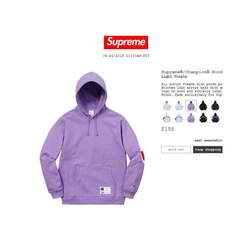 464472c323e5 Supreme Champion Hooded Sweatshirt Light Purple Large SS18 *SOLD OUT ...