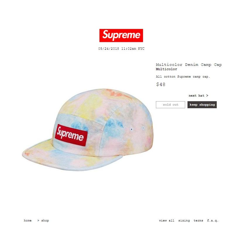 b6aac3a7344 Supreme Multicolor Denim Camp Cap SS18  SOLD OUT  ORDER CONFIRMED • Hats •  Strictlypreme