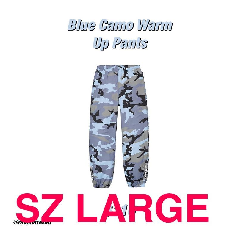 945e2eeb4bd7a Supreme Warm Up Pants Blue Camo SS18 • Pants • Strictlypreme