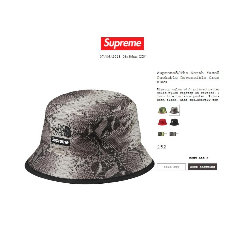 a41dd1e103d Supreme The North Face Snakeskin Packable Reversible Crusher Black s m •  Hats • Strictlypreme