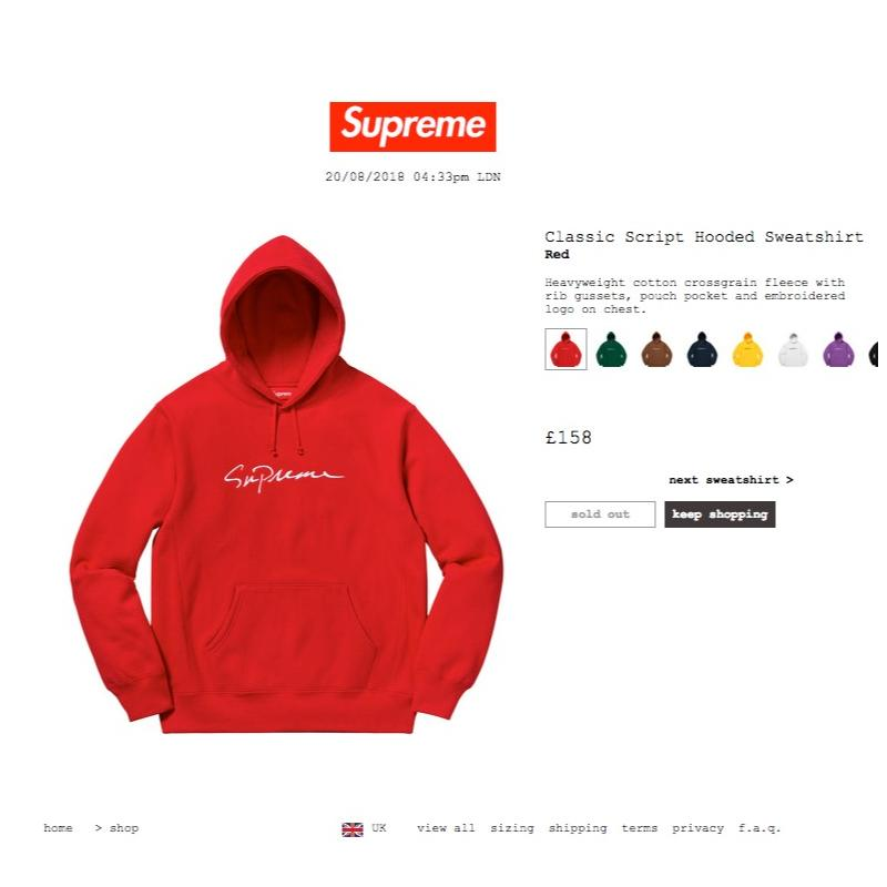 d3abddeb53b Supreme Classic Script Hooded Sweatshirt Red Large Sold Out FW18 Week 1 •  Sweatshirts • Strictlypreme