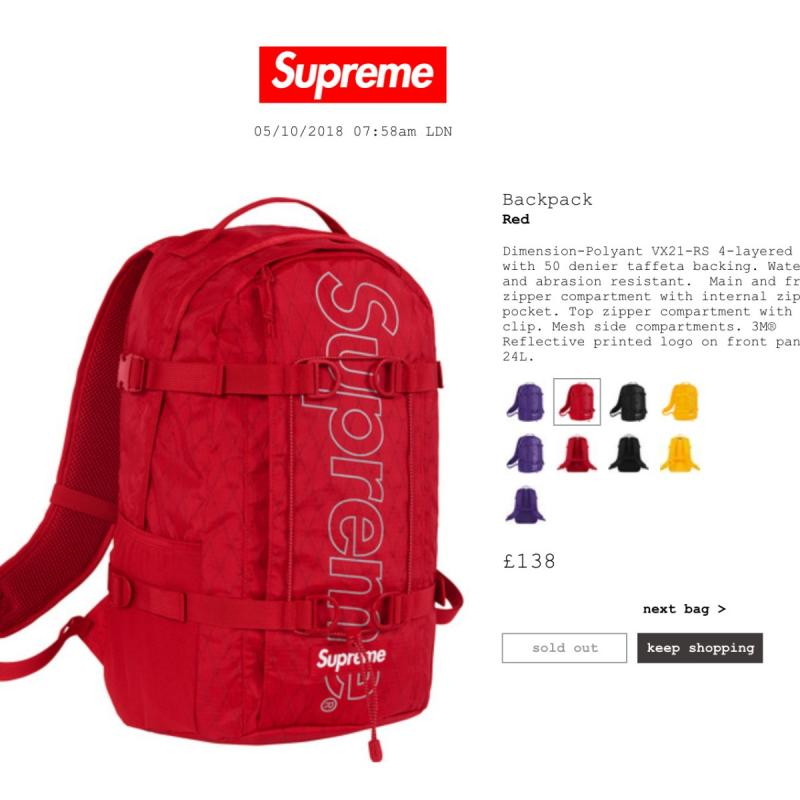 Supreme Red Backpack FW18 Water Resistant And Reflective • Bags