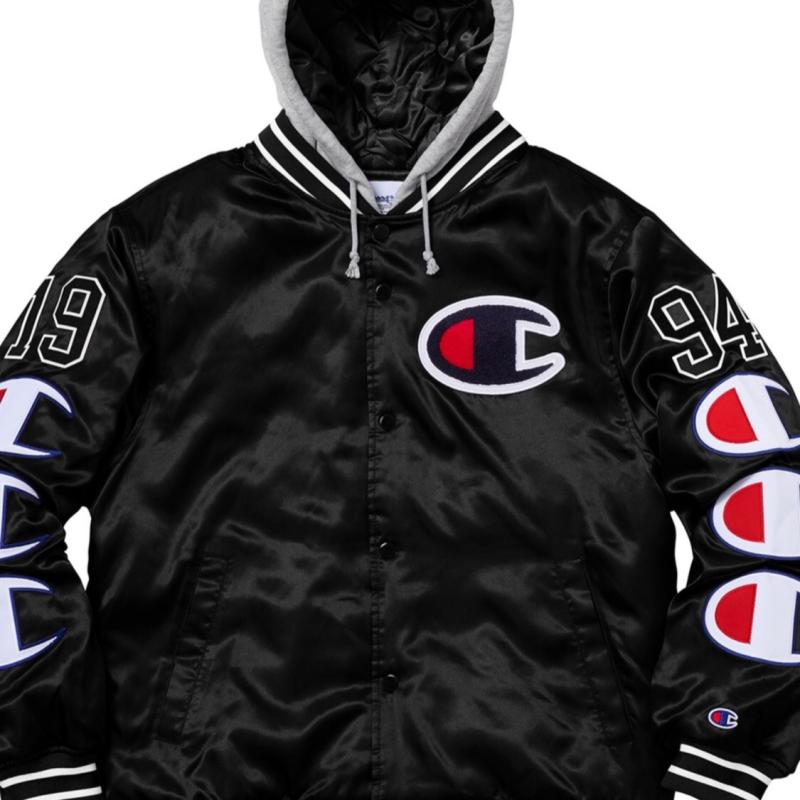 9cc0d0759fa9 Supreme x Champion Hooded Varsity Satin Jacket • Jackets • Strictlypreme