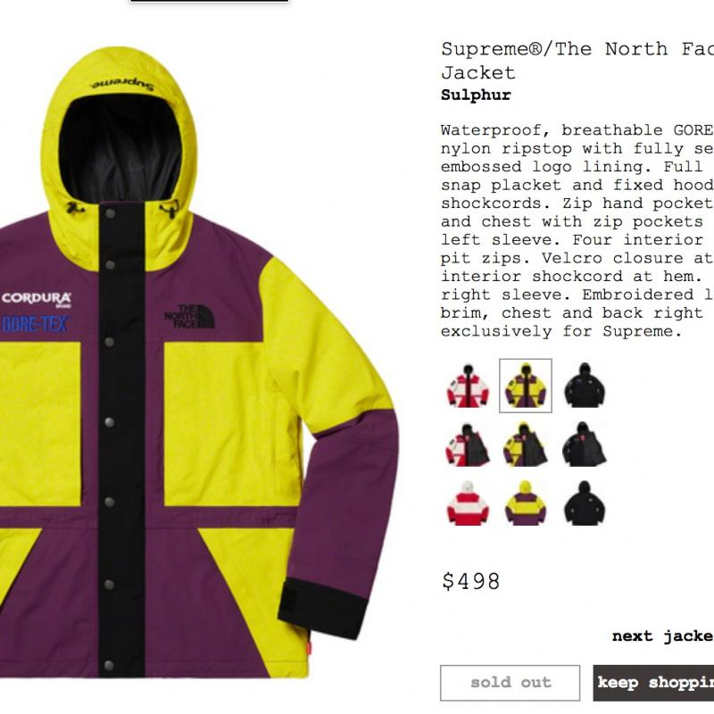 74616a4a2 Supreme The North Face Expedition Jacket FW18 Authentic Sulphur Size ...
