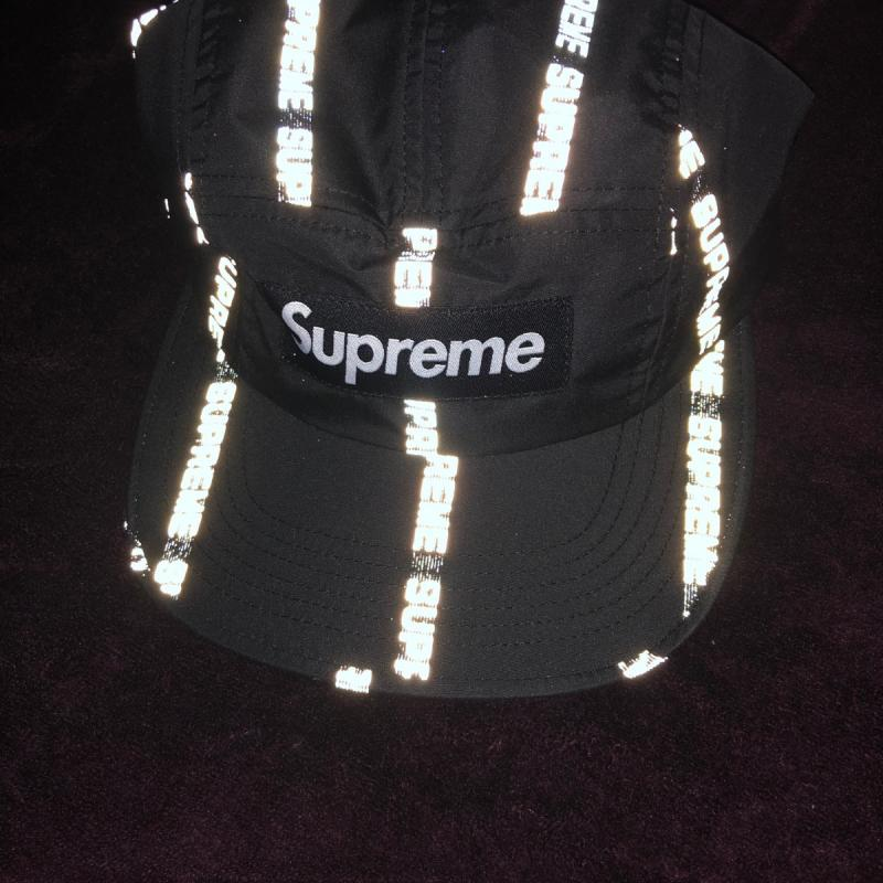 26ee8010 Reflective Text Camp Cap • Hats • Strictlypreme