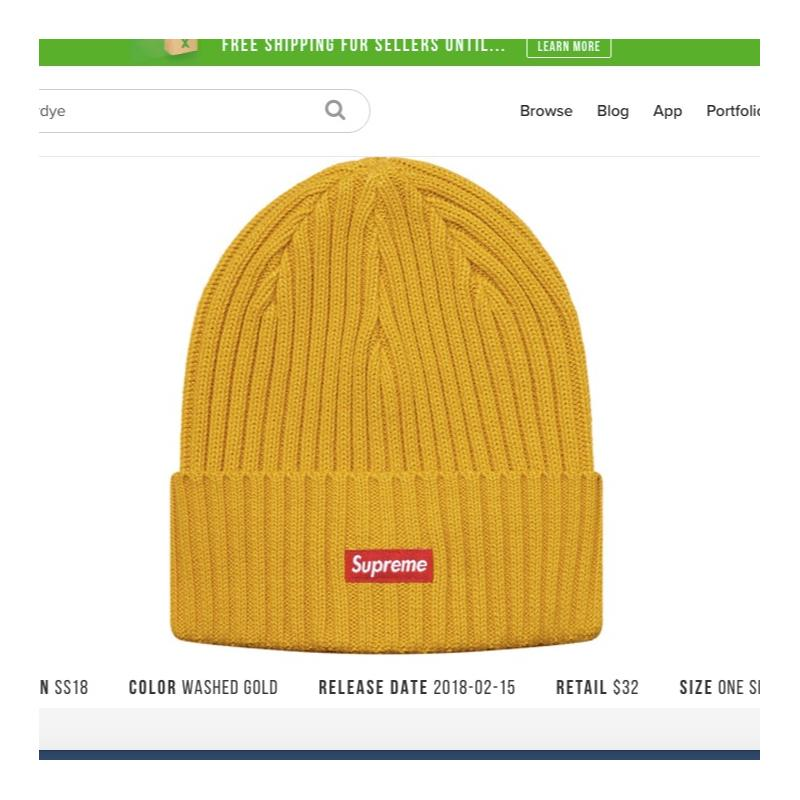 1b682ad5b4129 ... inexpensive supreme overdyed ribbed beanie ss18 washed gold u2022 hats  u2022 strictlypreme 44972 b8ccc