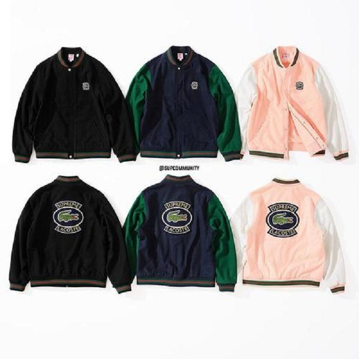 36e657823 Supreme® LACOSTE Wool Varsity Jacket PINK PEACH XL • Jackets ...