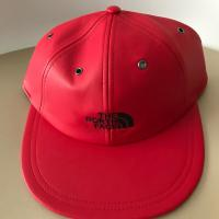 Supreme North Face Leather 6 Panel Hat  Red | Image 1