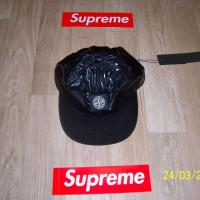 Supreme x Stone Island 6 Panel Hat Cap Black | Image 1