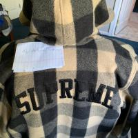 Supreme Arc Logo Insulated Flanel Zip Up Hoodie Jacket XL Tan | Image 1