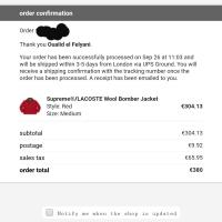 Supreme x Lacoste Bomber in RED  M | Image 2