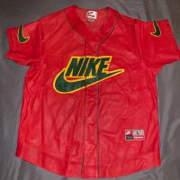 Supreme Nike baseball jersey leather red | Image 1